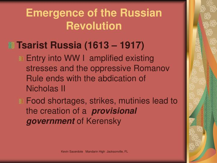 Emergence of the Russian Revolution