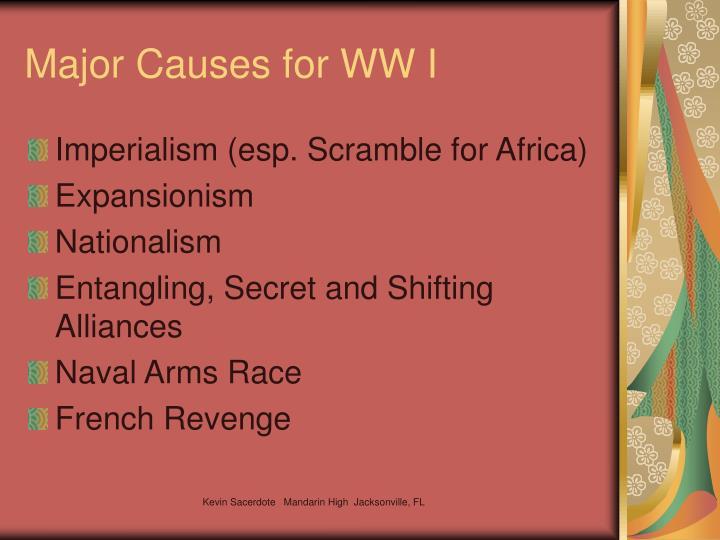 Major Causes for WW I