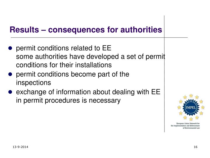 Results – consequences for authorities