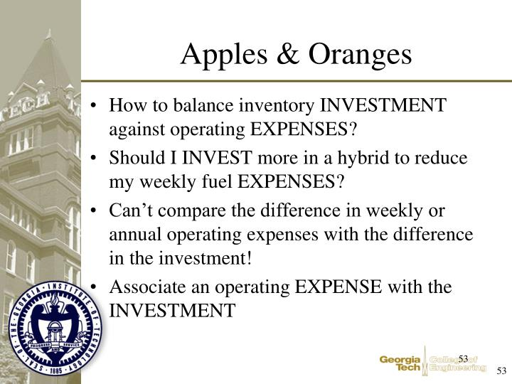 How to balance inventory INVESTMENT against operating EXPENSES?