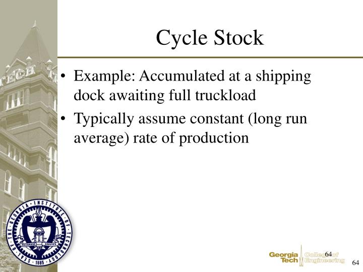 Example: Accumulated at a shipping dock awaiting full truckload