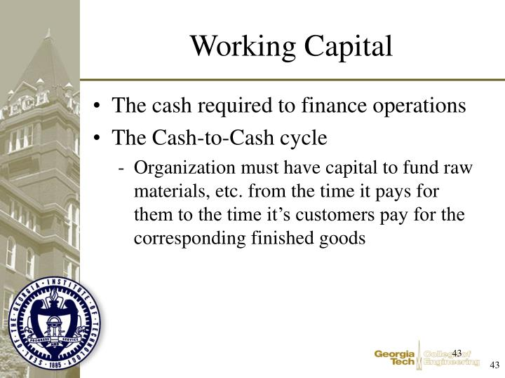 The cash required to finance operations
