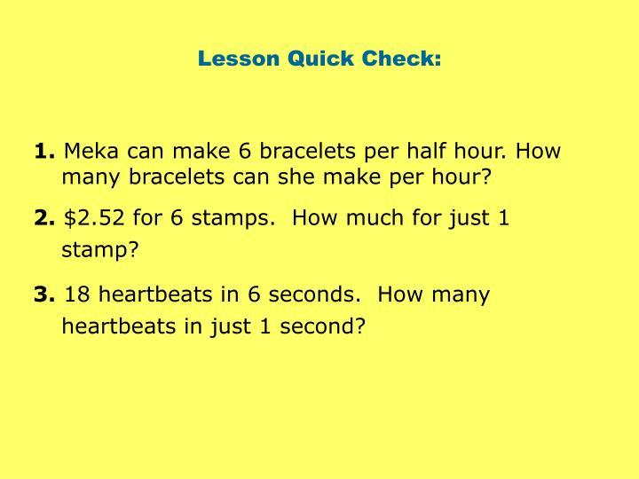 Lesson Quick Check: