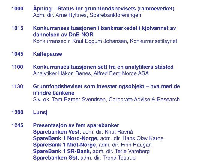 1000 Åpning – Status for grunnfondsbevisets (rammeverket)