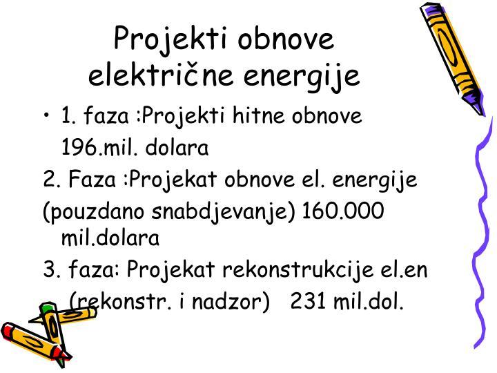 Projekti obnove električne energije