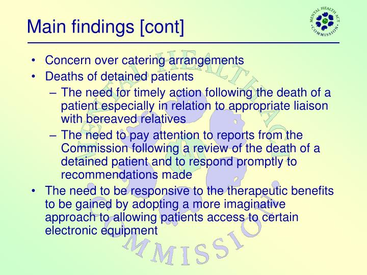 Main findings [cont]