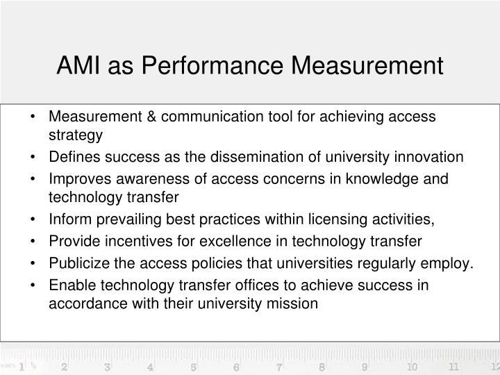 AMI as Performance Measurement