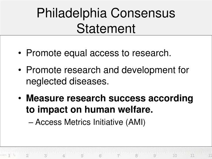 Philadelphia consensus statement