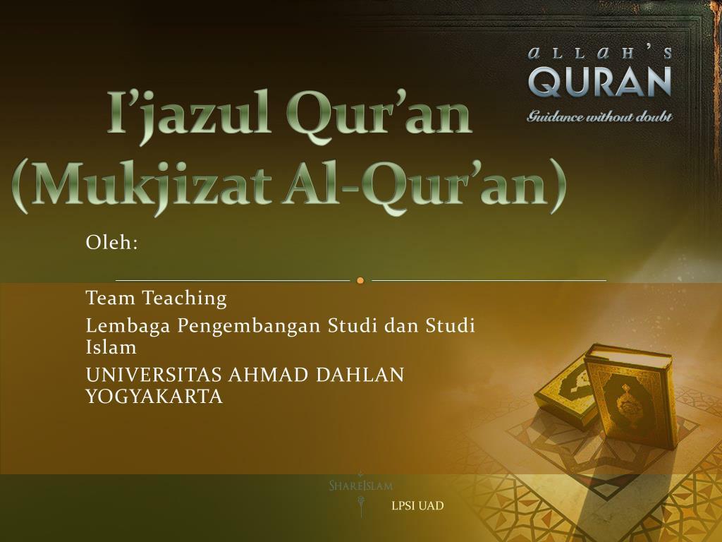 Ppt I Jazul Qur An Mukjizat Al Qur An Powerpoint Presentation Id 4333865