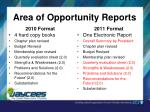 area of opportunity reports