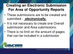creating an electronic submission for area of opportunity reports