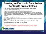 creating an electronic submission for single project entries