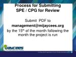 process for submitting spe cpg for review