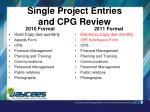 single project entries and cpg review