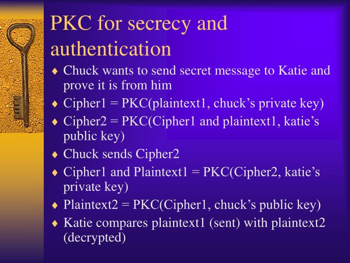 PKC for secrecy and authentication