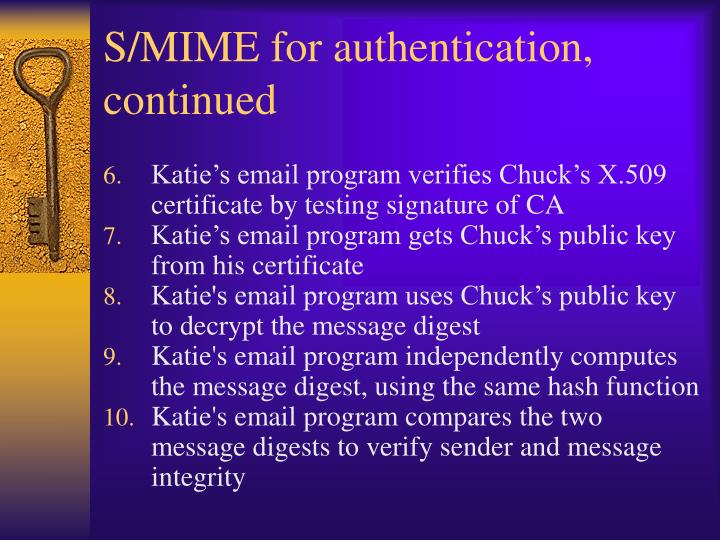 S/MIME for authentication, continued