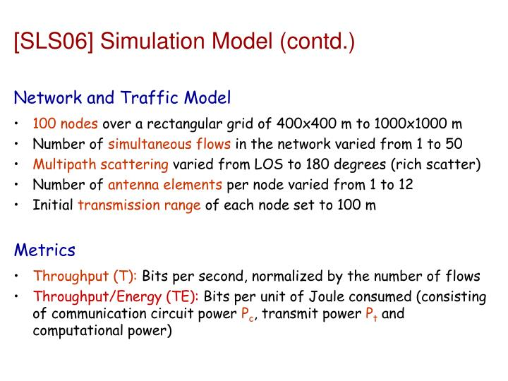 [SLS06] Simulation Model (contd.)