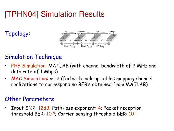 [TPHN04] Simulation Results