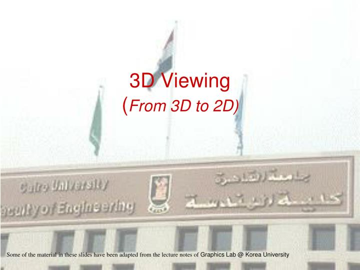 3d viewing from 3d to 2d n.