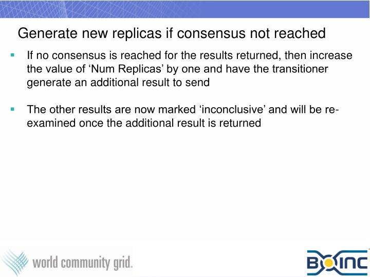 Generate new replicas if consensus not reached