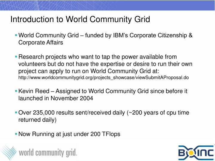 Introduction to world community grid