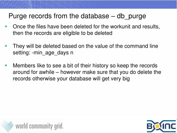 Purge records from the database – db_purge