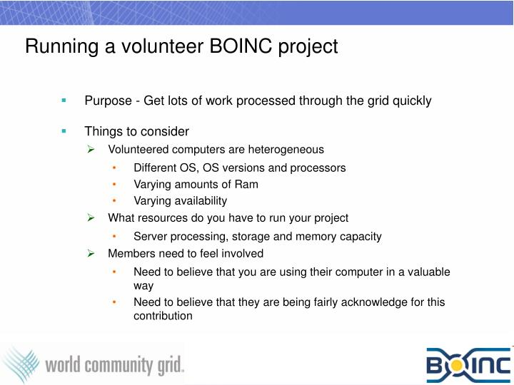 Running a volunteer boinc project