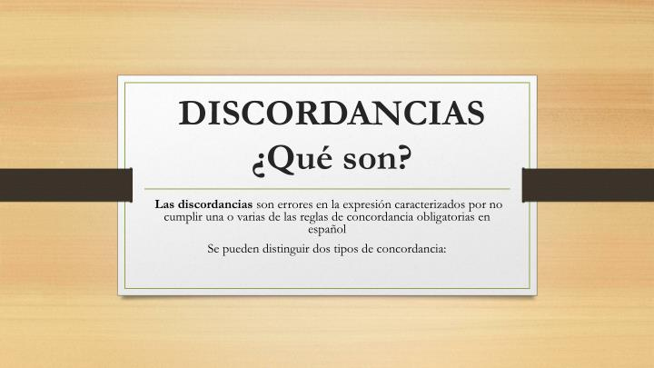 DISCORDANCIAS