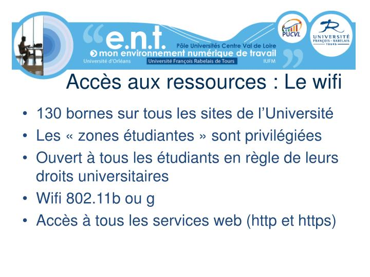 Accès aux ressources : Le wifi
