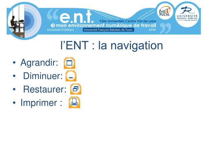 l'ENT : la navigation