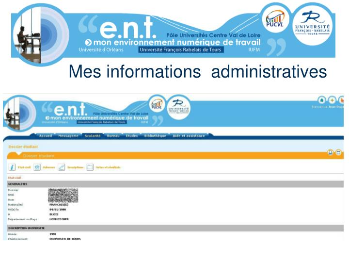Mes informations  administratives