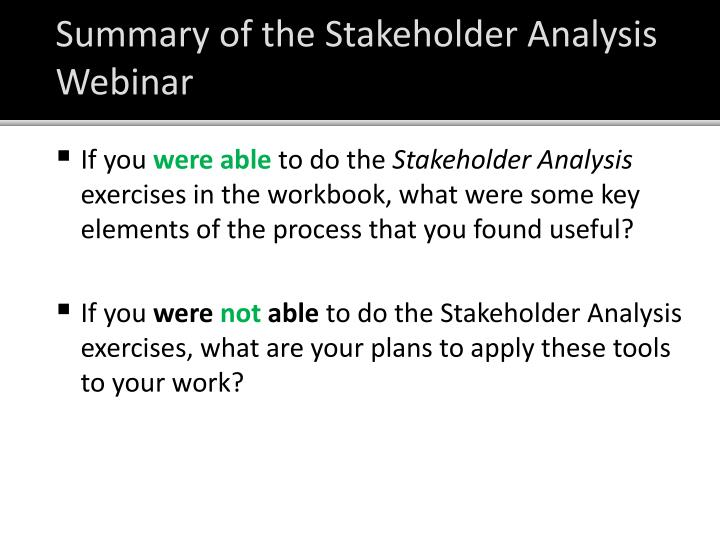 Summary of the Stakeholder Analysis