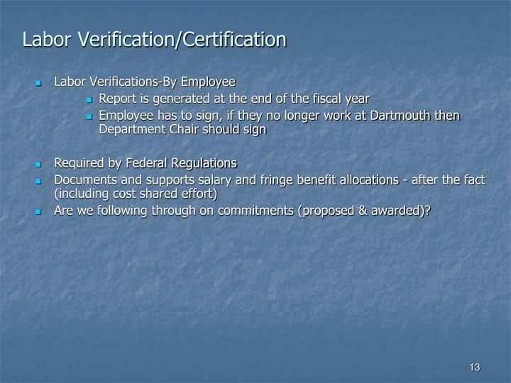 Labor Verification/Certification