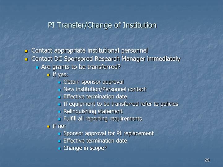 PI Transfer/Change of Institution