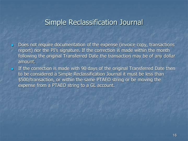 Simple Reclassification Journal