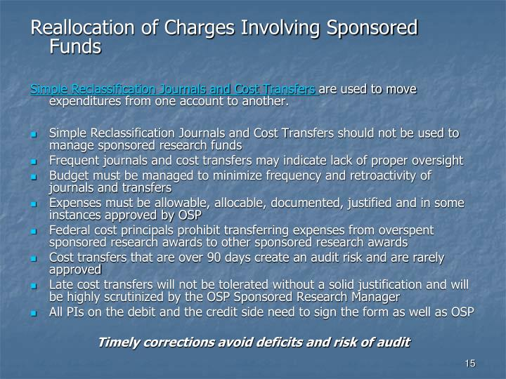 Reallocation of Charges Involving Sponsored Funds