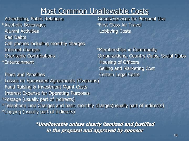 Most Common Unallowable Costs