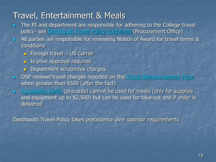 Travel, Entertainment & Meals