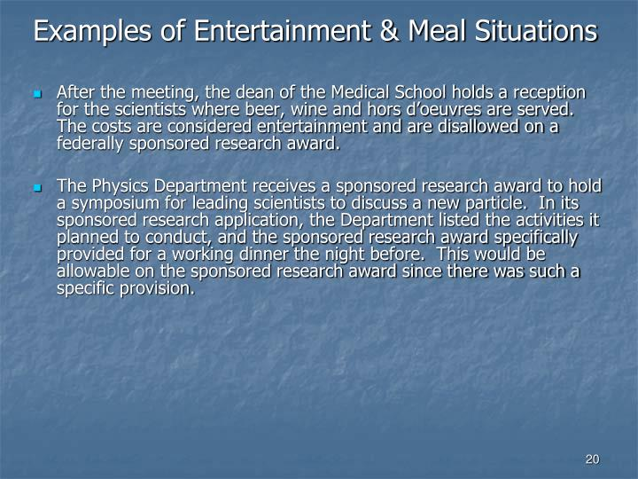 Examples of Entertainment & Meal Situations