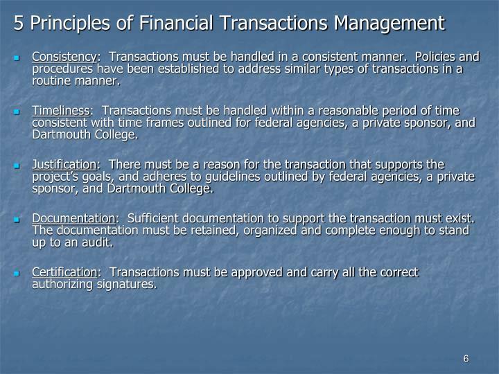 5 Principles of Financial Transactions Management
