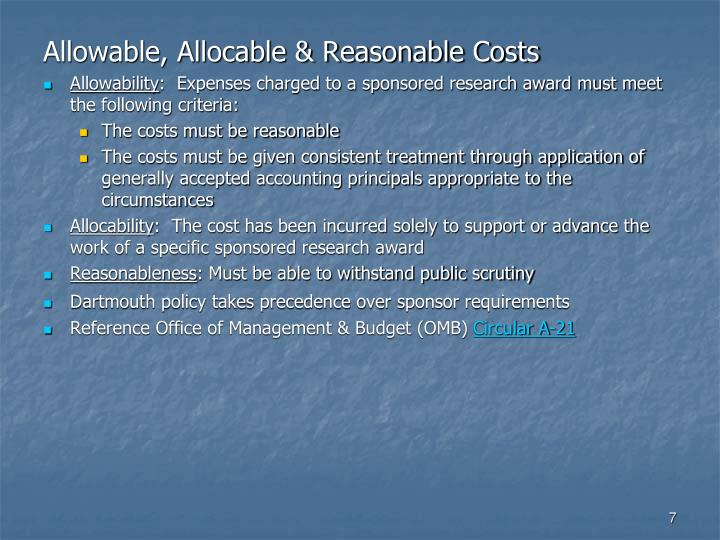 Allowable, Allocable & Reasonable Costs