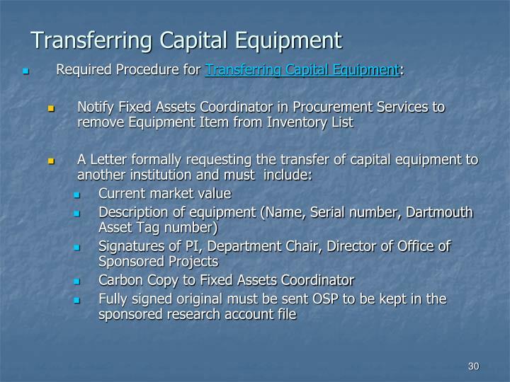 Transferring Capital Equipment