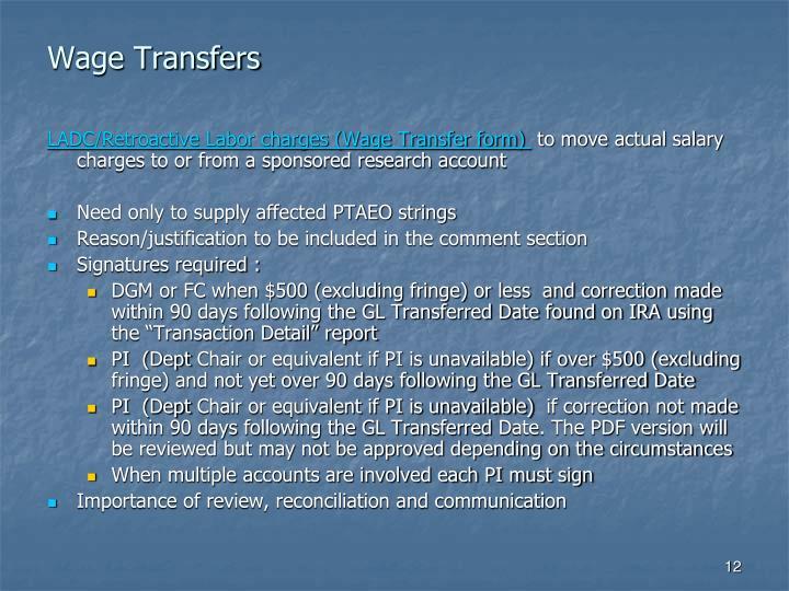 Wage Transfers