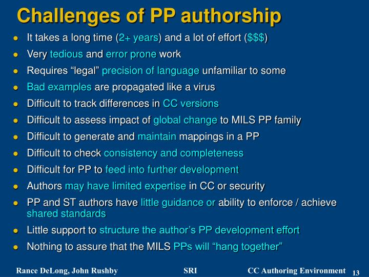 Challenges of PP authorship