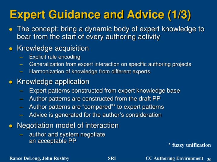 Expert Guidance and Advice (1/3)