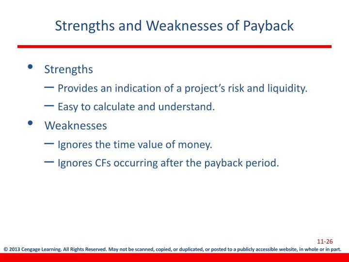 Strengths and Weaknesses of Payback
