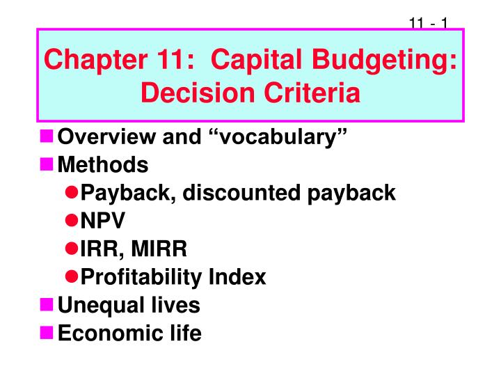 chapter 11 capital budgeting decision criteria n.