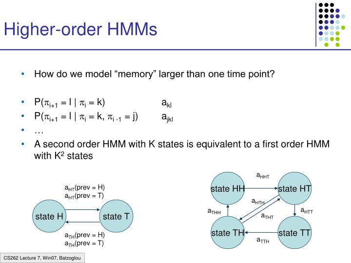 Higher order hmms