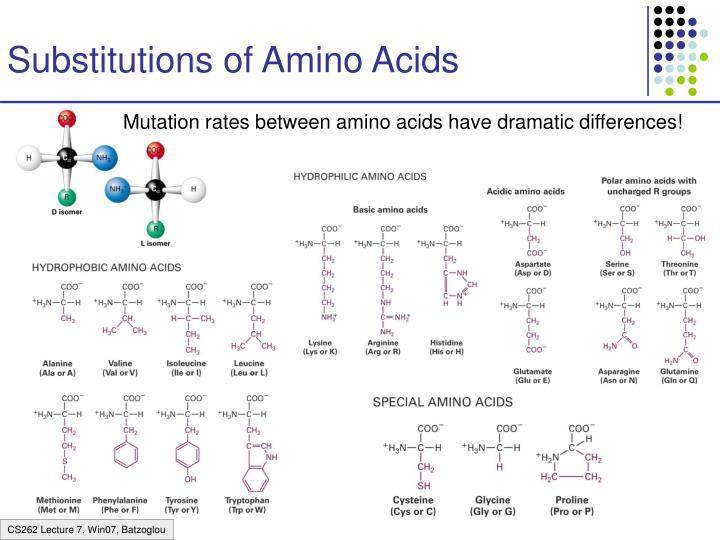 Substitutions of Amino Acids
