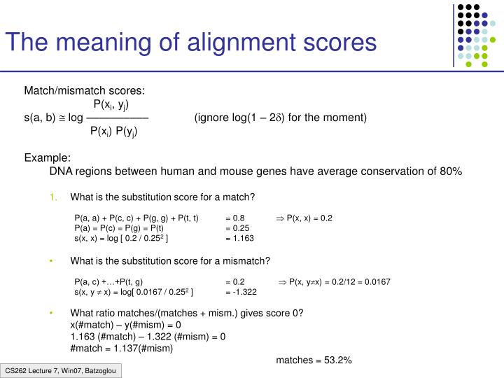 The meaning of alignment scores